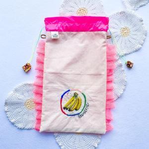 【ハンドメイド】ニードル刺繍バナナの巾着