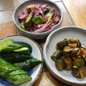 ミョウガご飯とキュウリの漬物三種