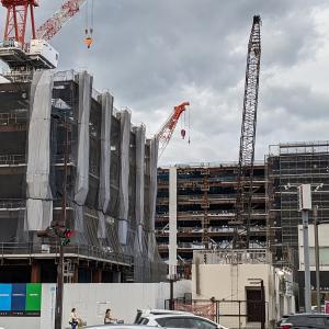 五橋の旧仙台市立病院跡地、「東北学院大学五橋キャンパス新築工事」の建設状況(2021年7月)