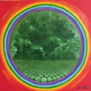 幸せを呼ぶ虹の絵画
