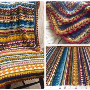 完成!【15色のスパイシーブランケット】編むと日々が愛おしくなる!縁編み・使用糸量・ピン打ち・アイロン #Spice of Life Blanket