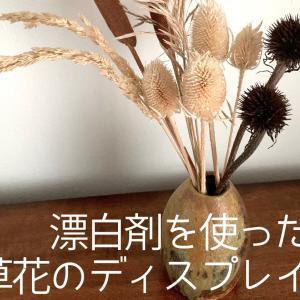 部屋を秋らしい雰囲気に♬ 漂白剤を使った草花のディスプレイ
