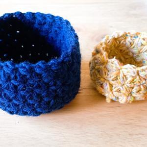 リフ編みの小物入れが完成しました