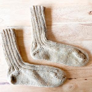 リブ編みのくつ下が完成しました