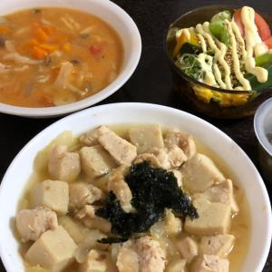 昨日の晩ご飯は鶏むね肉と高野豆腐の甘煮。糖質オフのお菓子など