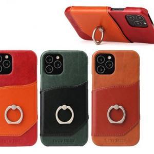 【新商品】落下防止リング付のiPhone13mini/13/13Pro/13ProMax 対応 リング付き本革ケースが発売