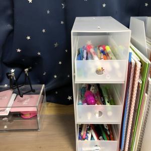 子供勉強机、文具収納 無印良品の引き出しを工夫しました