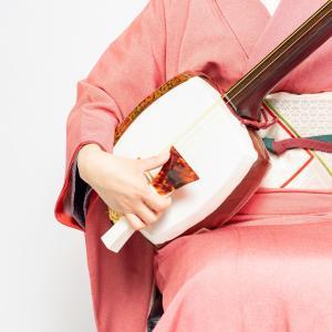 秋の浴衣コーデ(三味線のお稽古へ)