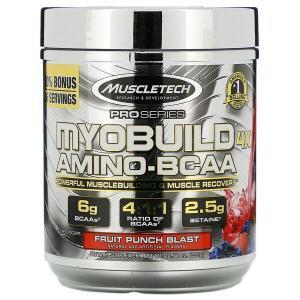 サプリメントレビュー③:【iHerb】Muscletech, MyoBuild(マイオビルド)4Xアミノ-BCAA、フルーツパンチブラスト、332g