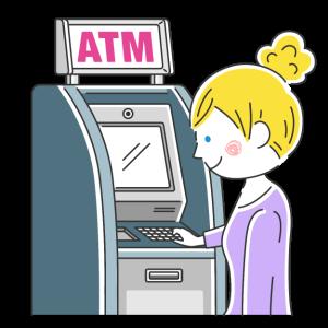 ATMを利用する白人女性の無料イラスト