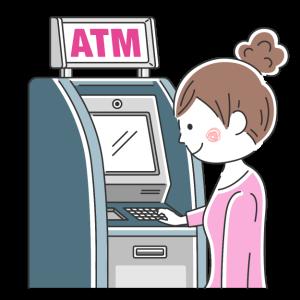 ATMを利用する女性の無料イラスト