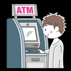 ATMを利用する男性の無料イラスト