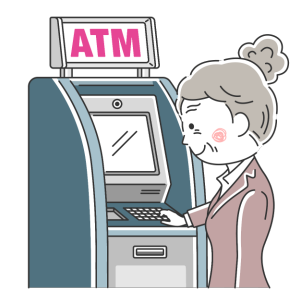 ATMを利用する年配のOLの無料イラスト