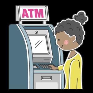 ATMを利用する黒人女性の無料イラスト