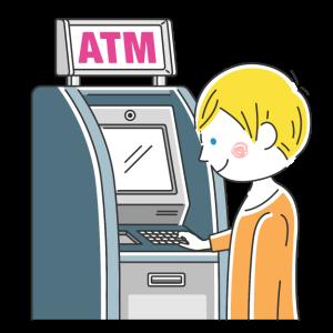ATMを利用する白人男性の無料イラスト