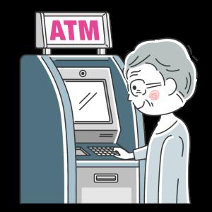 ATMを利用する年配男性の無料イラスト