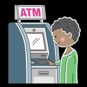ATMを利用する黒人男性の無料イラスト