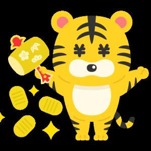小槌を振って小判を出す虎のキャラクターの無料イラスト