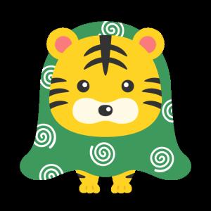 獅子舞の格好をした虎のキャラクターの無料イラスト