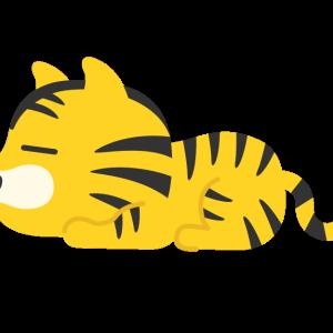 くつろぐ虎のキャラクター(横)の無料イラスト