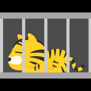 檻に入った虎のキャラクターの無料イラスト