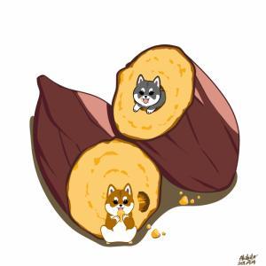 焼き芋に柴犬を添えて