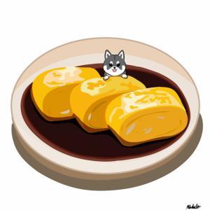 醬油漬けの卵焼きに柴犬を添えて