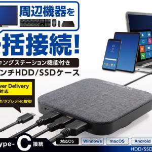 USB-C ハブの新しい形!?                  Logitech Dock機能付きHDD/SSDケース LGB-DHUPD