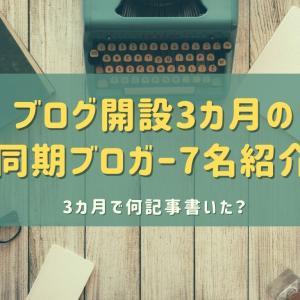 ブログ開設して3カ月の同期ブロガーさん7名紹介【3カ月で何記事書いた?】