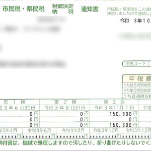 早期退職で残り市民税と県民税【約45万円】の通知書が届いた