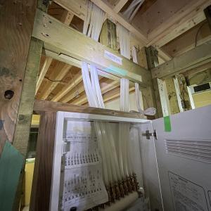 一条工務店の緑色の木材