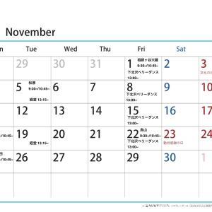 11月ヨガのスケジュール