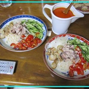●冷製パスタ...が...ひやむぎ冷麺