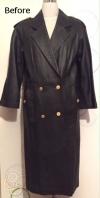 ダブルのロング革コートをシングルのハーフコートに