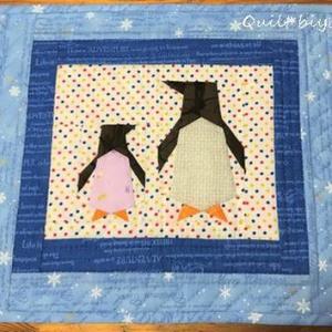 ペンギンのミニタペストリー完成&窓辺のテト