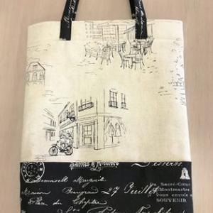 ちょっと柄違い、パリの街角プリントのA4ファイルのためのバッグ♪