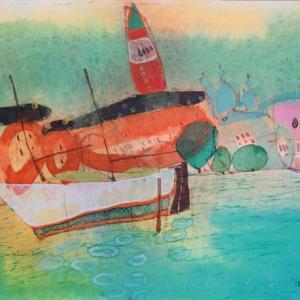 イタリア風景「古いバルカ」イタリア・ヴェネチア2018年 水彩画