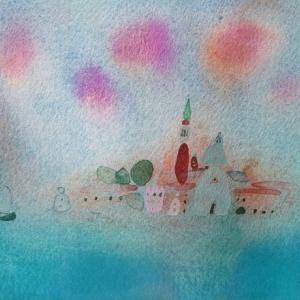 イタリア風景「サン・ジョルジョと雲」ヴェネチア2018年 水彩画のご紹介です。