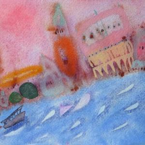 イタリア風景「サンマルコと船」イタリア・ヴェネチア2018年 水彩画
