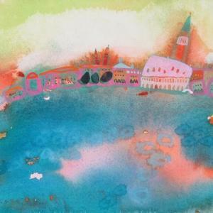 イタリア風景「今日も愉快だね」ヴェネチア2018年 水彩画のご紹介です。