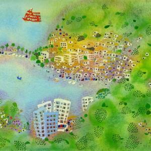 長崎風景「マリーナのある港町」2017年 水彩画