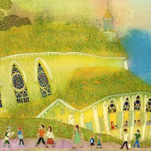 長崎の風景「大浦天主堂と祈念坂」2017年 水彩画