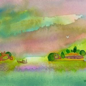 イタリア風景「サンジョルジョと島と空」ヴェネチア2018年 水彩画のご紹介です。