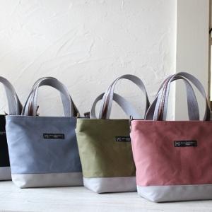 11号カラー帆布で使い勝手のいいお散歩サイズのトートバッグ(富士金梅使用)