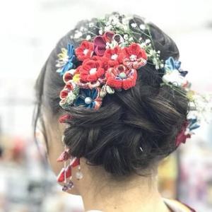 【祝成人】手作りのつまみ細工で成人式の髪飾り♪