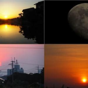 2020年6月3日,昨夕,昨夜,今朝の風景 夕焼け,月,日の出