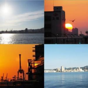 2020年6月21日,昨夕,今朝の風景 神戸港,ウミキリン,日の出
