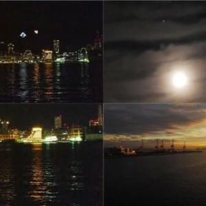 昨夜,今朝の風景 神戸港,天体ショー,日の出