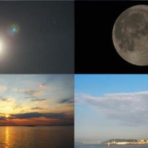 2021年7月26日 今朝の風景 天体ショー,満月,朝陽,神戸港・朝景