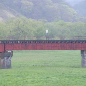 JR日高本線三石川橋梁とサラブレッド牧場 2009年5月 2